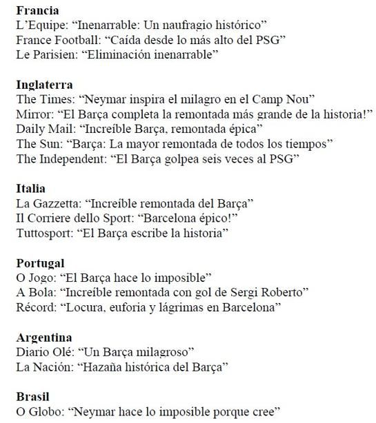 Titulares de la prensa internacional tras la remontada del Barça