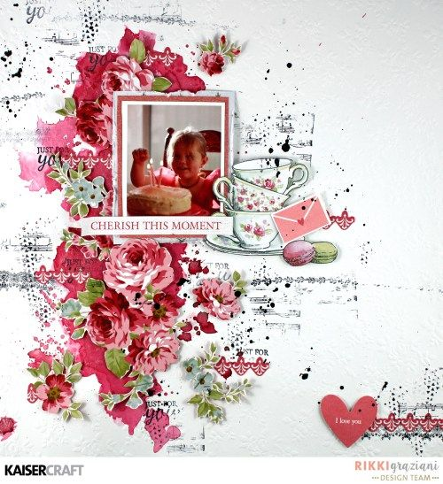 ''Cherish This Moment'' Layout and Video Tutorial By Rikki Graziani Design Team member for Kaisercraft Official Blog using their New April 2017 collection 'High Tea'. Learn more at kaisercraft.com.au/blog ~ Wendy Schultz ~ Scrapbook Layouts.