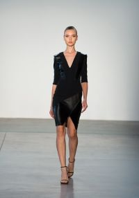 Look 21 - Black Stretch Crepe and Leather Paneled Cocktail.