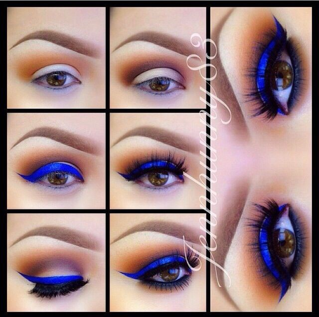Love this bright blue and orange/gold look