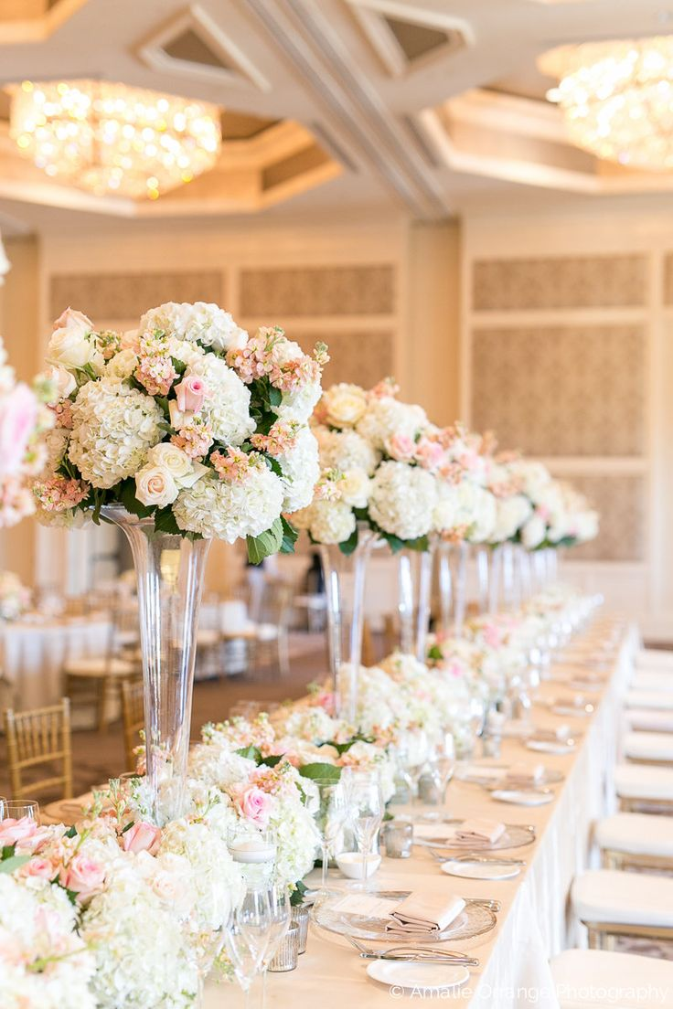 This Showstopper Wedding Reception Head Table In The Four Seasons Ballroom  Featured Tall Lush Arrangements Of