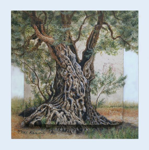 Old++olive+tree+trunk+++Original+oil+painting+by+StudioMikiKarni