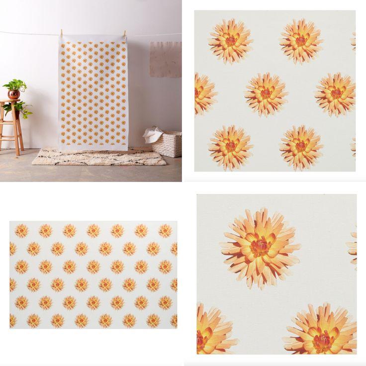 Orange Dahlia Flower Pattern on White Fabric     #zazzle #fabric #white #pattern #flowers #dahlia #orange