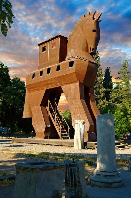 Replica of the wooden horse of Troy, Turkey