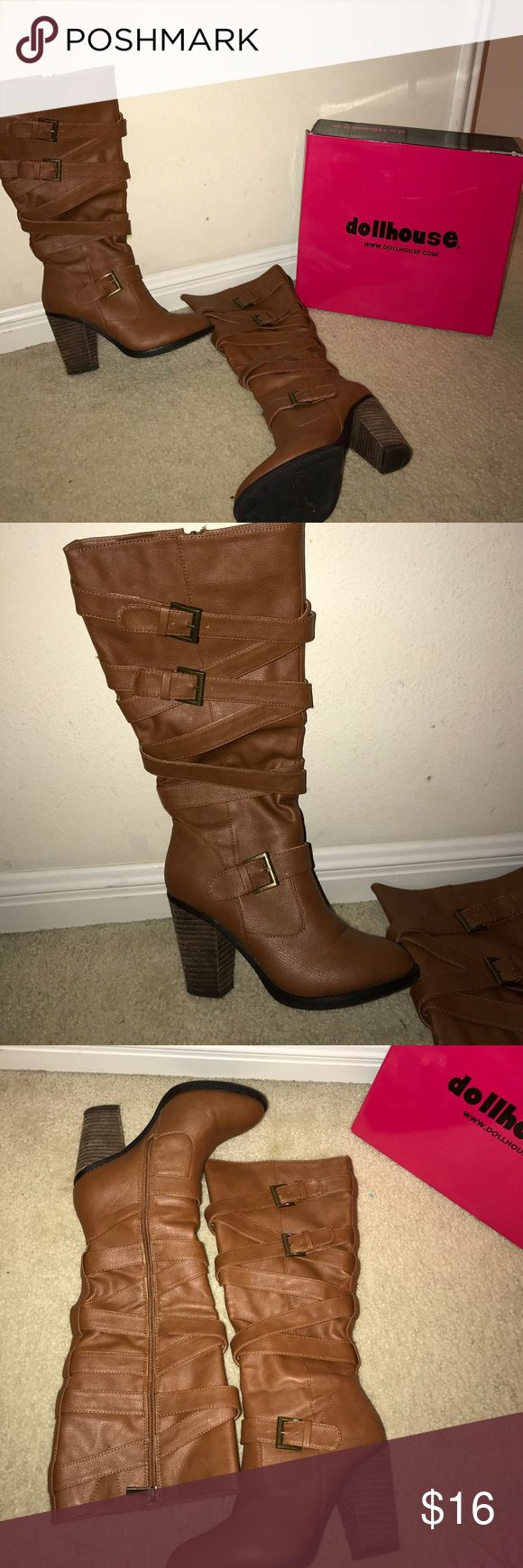 Dollhouse - Brown Heel Boots This adorable sip up almost to the knee boots have been used twice. They will adorable with dresses / leggings / skinny jean! Very comfortable! Dollhouse Shoes Heeled Boots