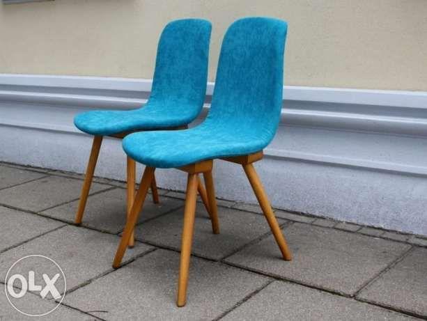 Krzesła turkusowe prl odnowione Łódź - image 1