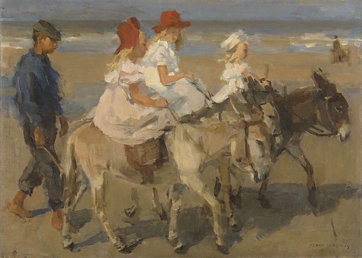 Ezeltje rijden langs het strand, Isaac Israels, ca. 1890 - ca. 1901