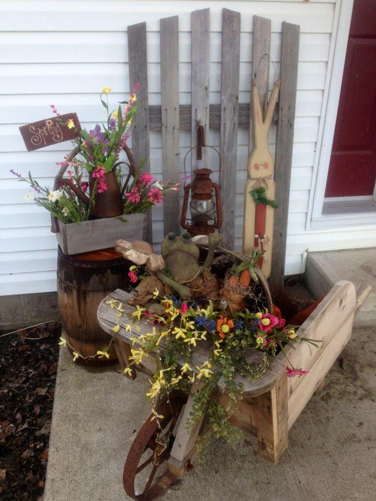 Primitive spring decorating - front porch