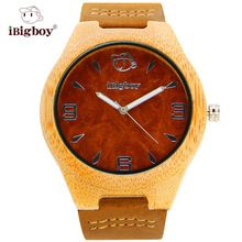 iBigboy Classical Wooden Watches Bamboo Case Leather Band Quartz Movement Glass Crystal Gift Wristwatch IB-1602Aa(China (Mainland))