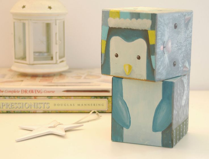 Designer Toy hand painted on wooden cubes with a winter theme. The perfect…