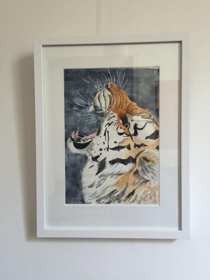 Tiger Tiger Burning Bright - Fine Art Giclée Print of a tiger roaring by LittleRowanRedhead on Etsy