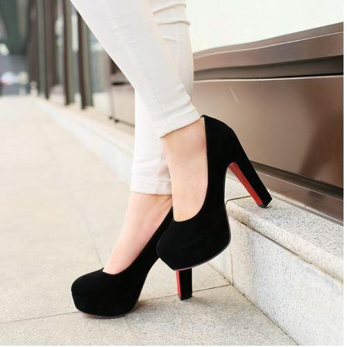 Tamaño grande 32-43 tacones altos plataforma zapatos 2015 nuevas llegadas Red Bottom zapatos de boda plataforma Flock bombas moda 2015