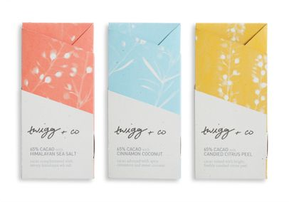 Twigg & Co Branding, packaging and web design for a boutique chocolatier in Atlanta, Georgia. Covers a large system of bars and confections, and is centered around the purity, natural beauty, and celebrated experience of the product.   Created in partnership with Brittany Baum.