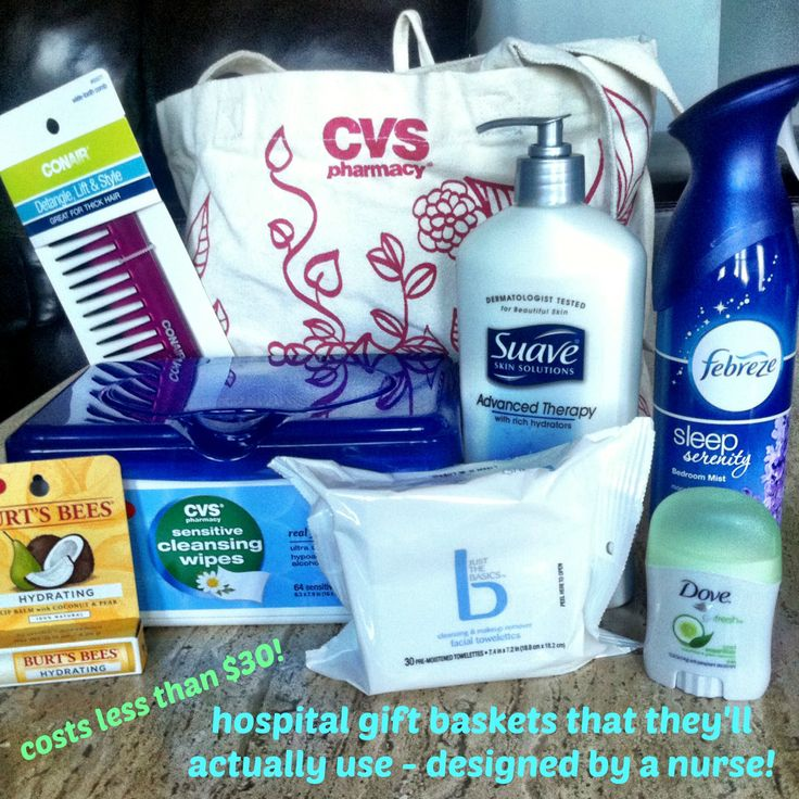 gift baskets for the hospital designed by a nurse
