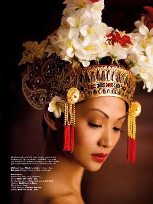 Indonesian woman with a traditional hair dress #Indonesian