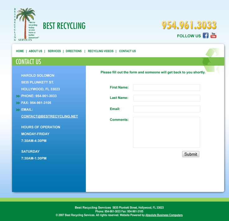 Best Recycling Contact Page
