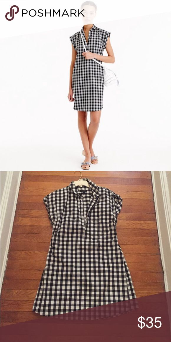 J Crew black and white gingham dress Throw on a pair of espadrille wedges or white Birks and call it a day. There's nothing else you need on vacation. Guaranteed to wrinkle fashionably. In Santorini, who gives a toss. Cotton, cool, sexy. J. Crew Dresses Midi