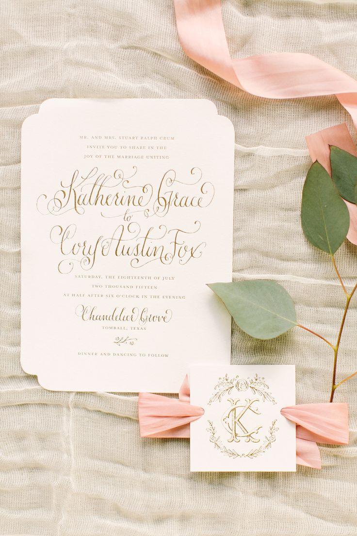 Kara Anne Paper Gold Foil Invitation and Wedding Monogram www.karaannepaper.com