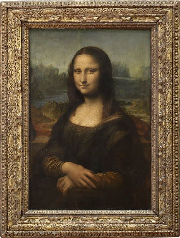 """Mona Lisa"" by Leonardo da Vinci (circa 1503).  In a 2010 trip to the Musée du Louvre, I learned that this painting is also called all these things:  La Gioconda or La Joconde, or Portrait of Lisa Gherardini, wife of Francesco del Giocondo .... and is very very small."