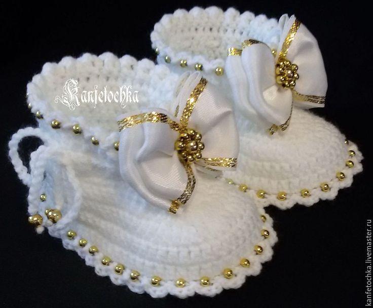 Купить Пинетки - белый, пинетки для крещения, пинетки для девочки, пинетки в подарок, пинетки вязаные