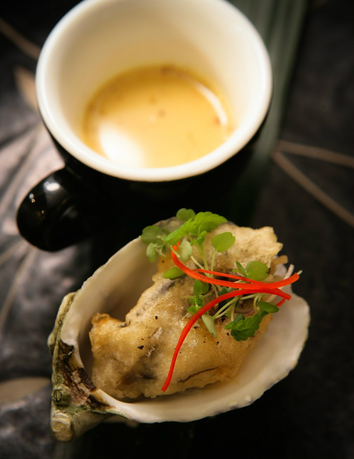 South Australian Sea urchin soup with tapioca fried Coffin Bay oyster.