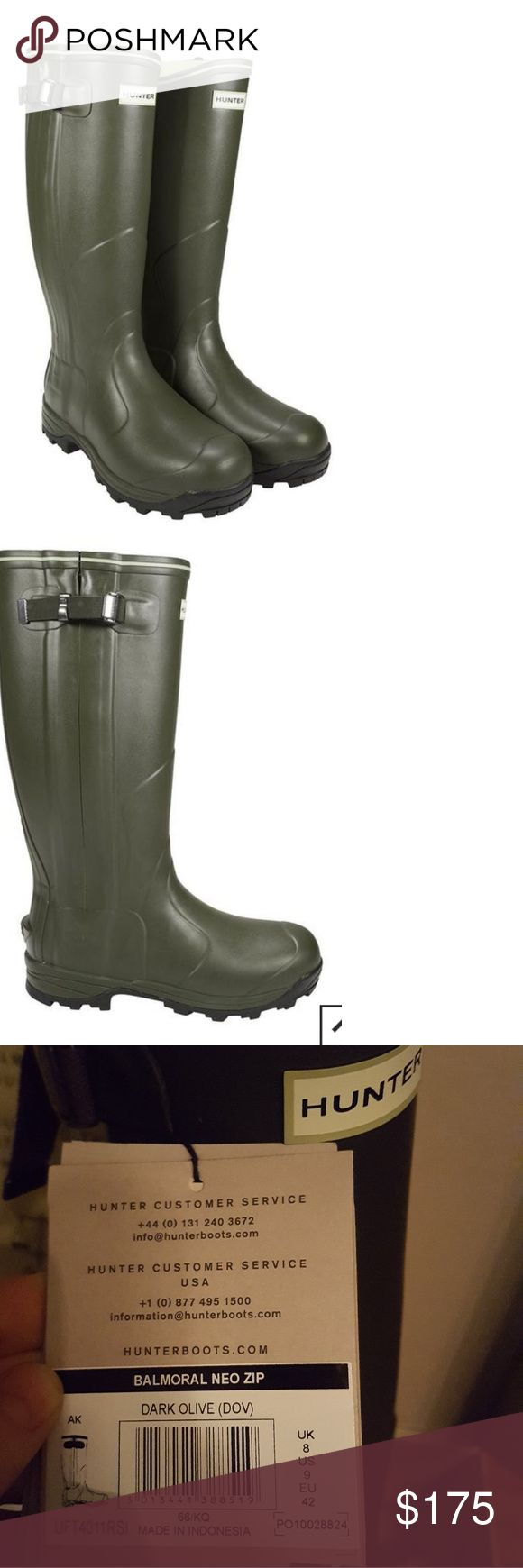 NWT Hunter Balmoral Neo-zipper Rain Boots Hunter Balmoral Neoprene Zip up Rain boots in dark olive, size 9 US 8 UK (see tag) runs a bit large fits more like a 9.5. Brand New With Tags and extra insoles included. Hunter Shoes Winter & Rain Boots