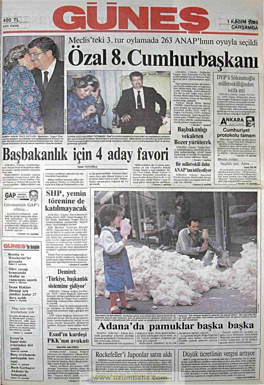 Güneş gazetesi 1 kasım 1989