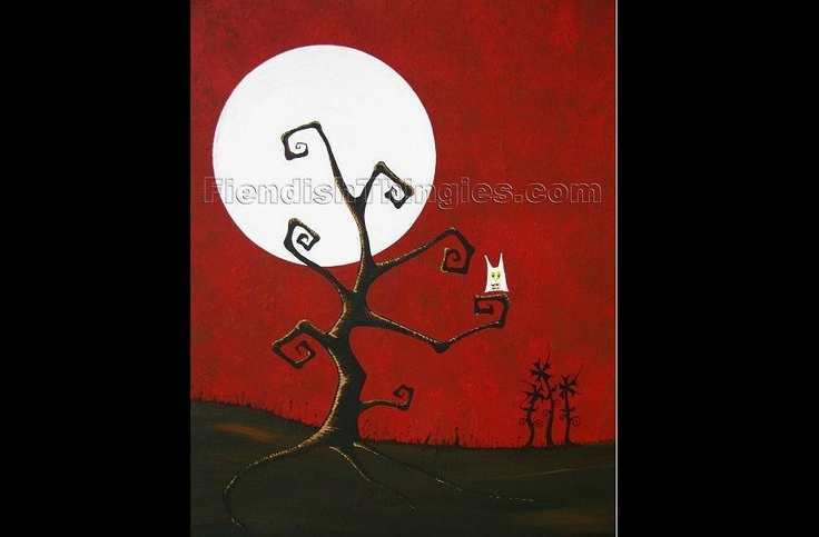 """Crooked Tree In Red Sky original acrylic painting on 16"""" x 20"""" canvas by Owen Klaas. $200.00, via Etsy."""
