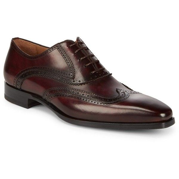 Magnanni Tavas Perforated Wingtip Dress Shoes ($230) ❤ liked on Polyvore featuring men's fashion, men's shoes, men's dress shoes, mens leather shoes, mens leather dress shoes, mens wingtip shoes, mens wing tip shoes and mens wingtip dress shoes