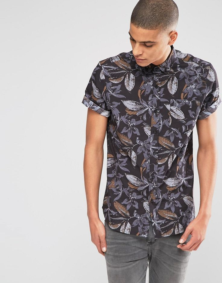 Image 1 of ASOS Shirt With Floral Print In Short Sleeve In Regular Fit