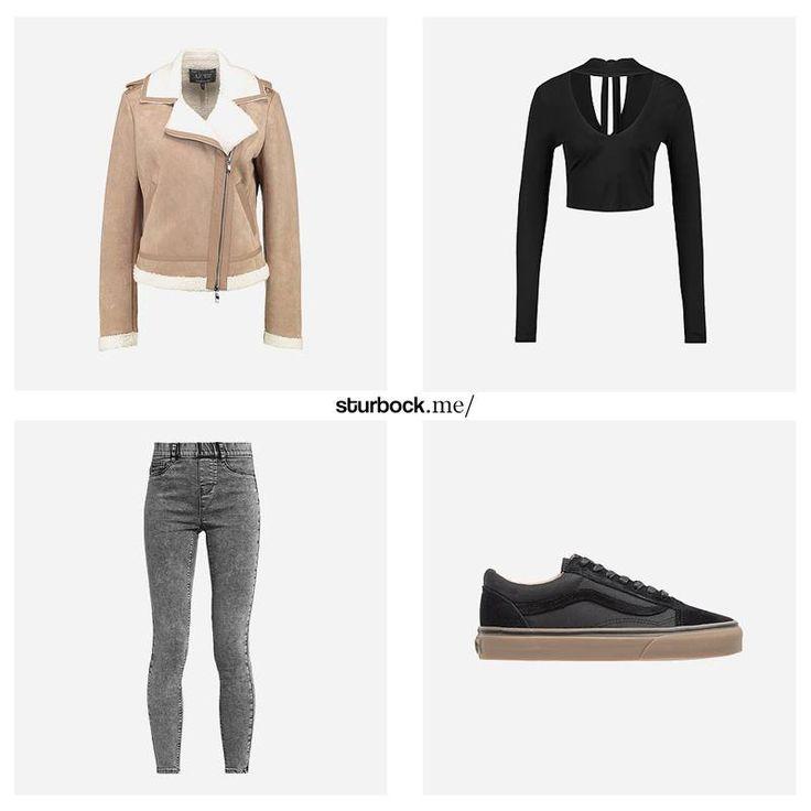 Dieser Look ist einfach erklärt: Dicke Fell-Lederjacke, freizügiges Oberteil und enge Hosen. Hier entdecken und shoppen: https://sturbock.me/AJ6