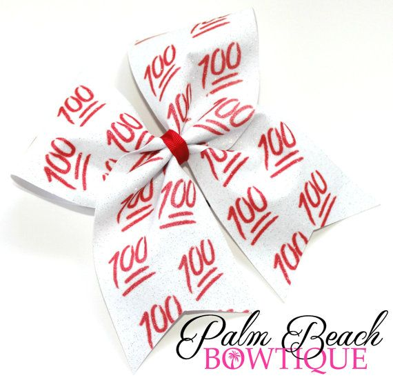 """You can't get this bow anywhere else! Our 100 Cheer Bow is perfect for the emoji loving cheerleaders, softball players, or any young lady! This bow is made with 3"""" wide ribbon and a strong no metal el"""