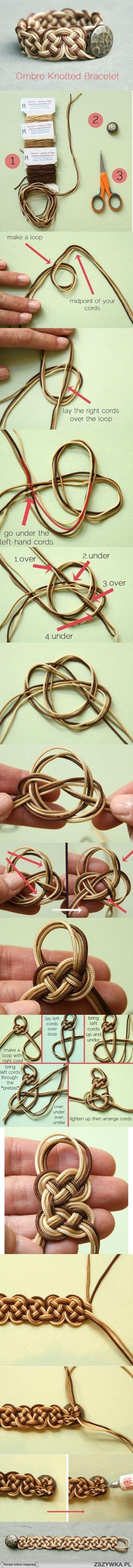 DIY OMBRE KNOTTED BRACELET (http://remarkablydomestic.com/2012/10/12/diy-ombre-knotted-bracelet/)