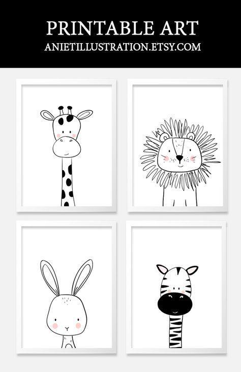Schwarzweiss-Vorschulkindkunst. Druckbare Kinderzimmer Wandkunst. , #d