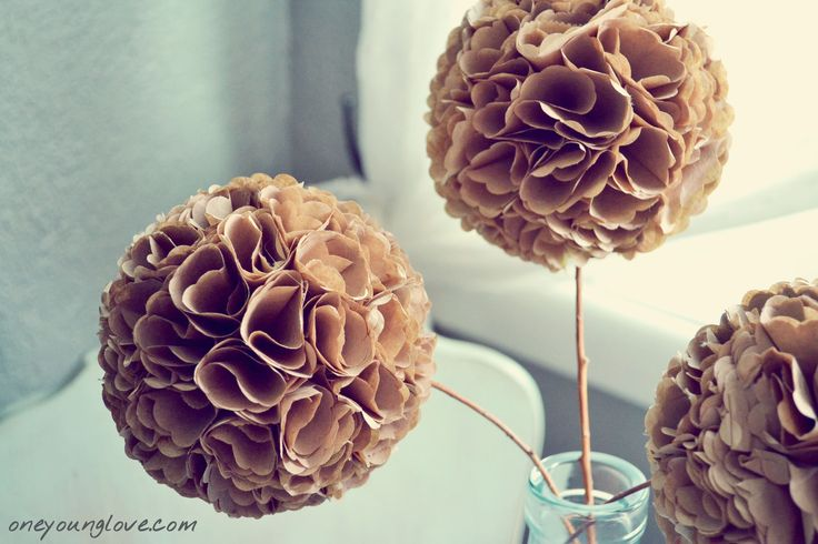 Paper Hydrangea - I'm thinking colored paper bags....