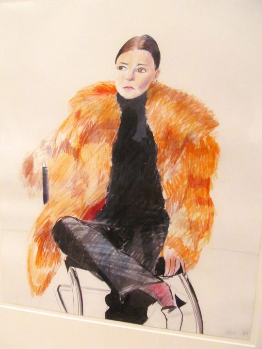 David Hockney Women in fur Crayon and graphite on paper , 1972