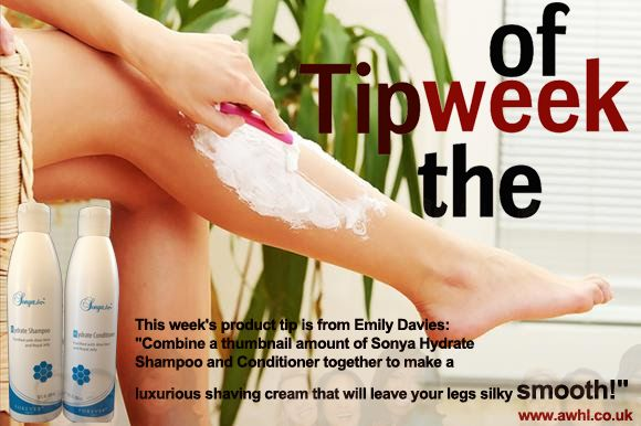 "Tip of the week This week's product tip is from Emily Davies: ""Combine a thumbnail amount of Sonya Hydrate Shampoo and Conditioner together to make a luxurious shaving cream that will leave your legs silky smooth!"" https://www.foreverliving.com/retail/shop/shopping.do?categoryName=Body+R&task=shopCategory"
