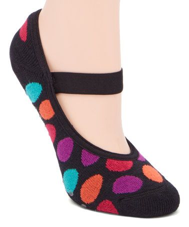 Look at this #zulilyfind! Black Dots Grip Socks #zulilyfinds