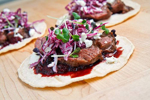 Duck Tacos with Chipotle Cherry Salsa and Goat Cheese  I bet these are amazing! Now, I just need to find the time to make them!