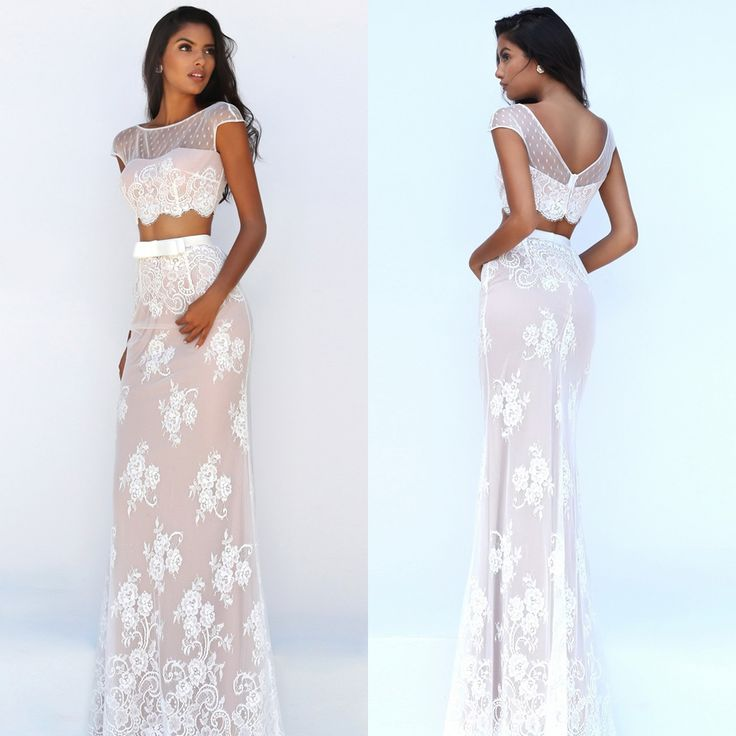 Two Piece Lace Sherri Hill Prom Dress