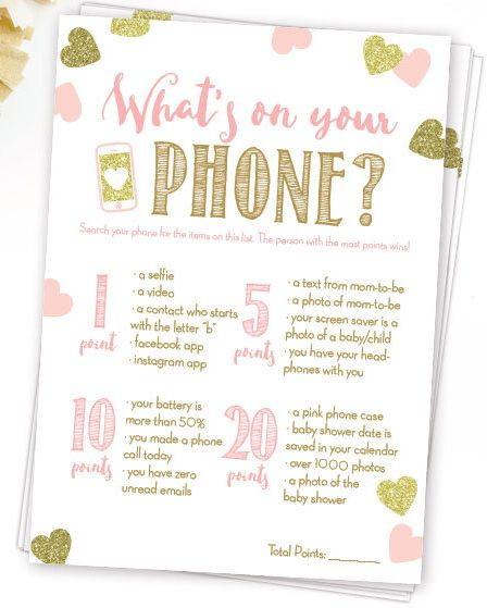 What S On Your Phone Baby Shower In Pink And Gold Diy Printable Instant Glitter Hearts Confetti Babyshower