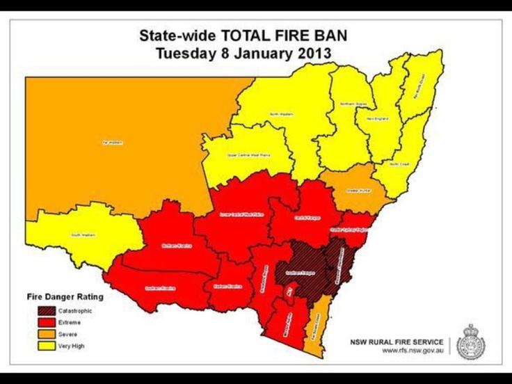 NSW Fire Service map of bushfire danger and fire ban in Jan. 2013