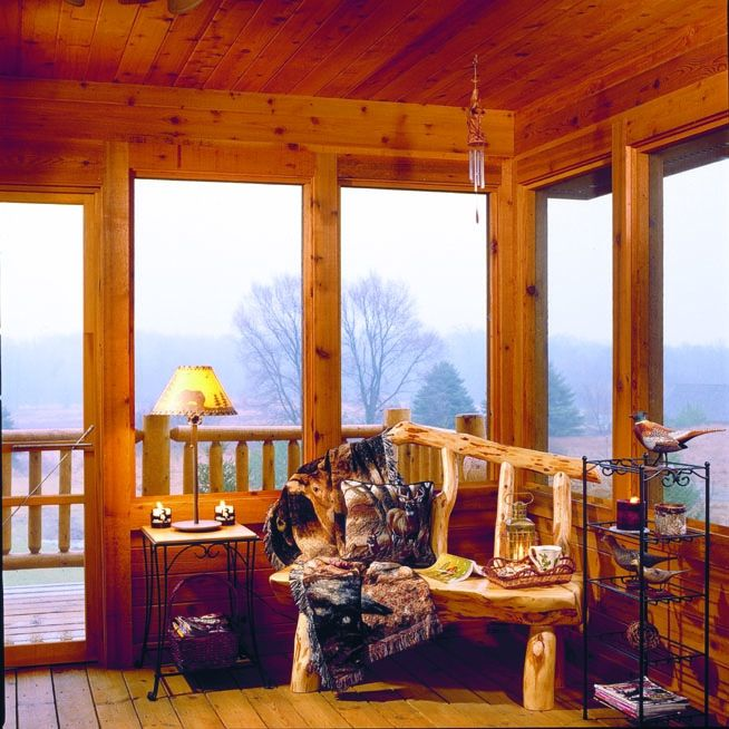 Best Log Home Love Images On Pinterest Loft Office Log