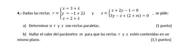 Ejercicio 4A 2014-2015 Junio. Propuesto en examen pau de Canarias. Matemática. Geometría métrica.