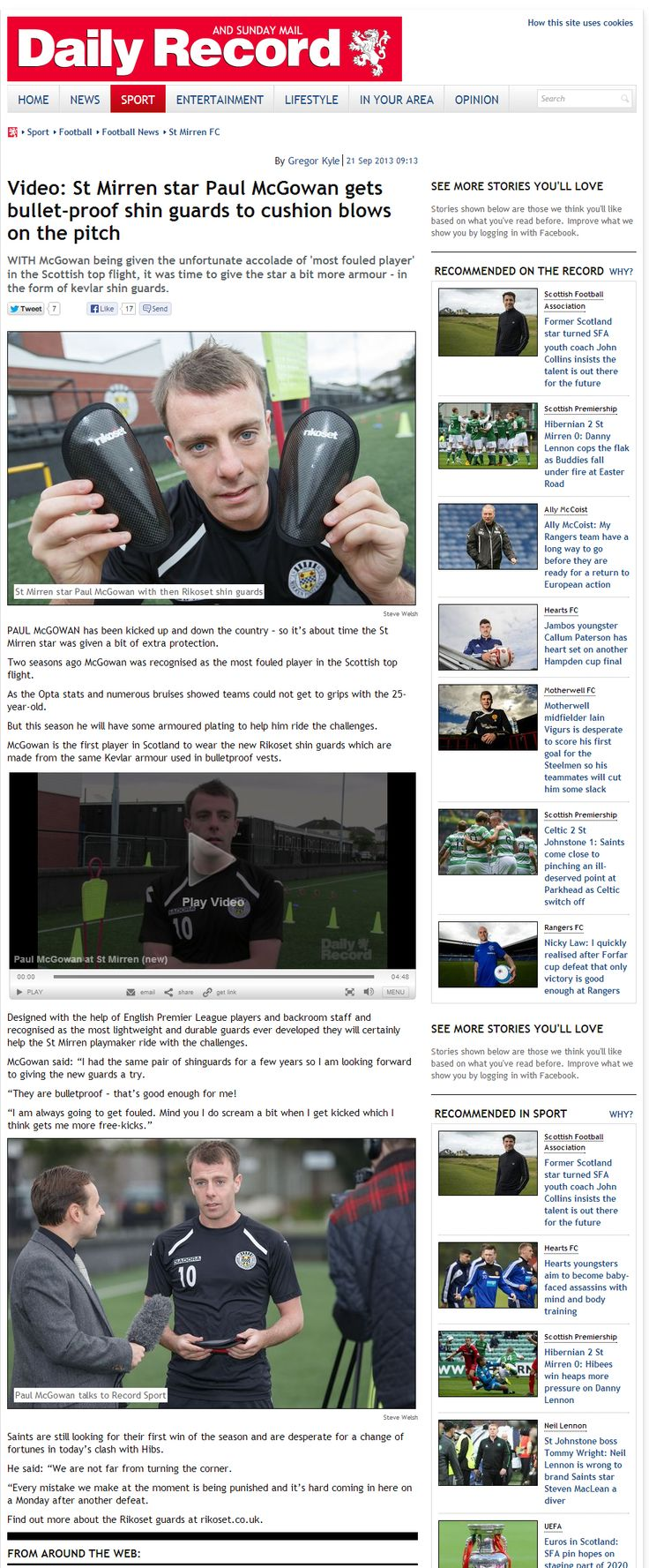 The DAily Record present Scotlands most fouled player wit ha pair of Rikoset Elite shin guards - http://www.rikoset.co.uk/elite-handcrafted-limited-edition/
