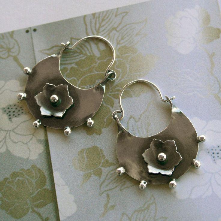 Earrings | Kira Ferrer. 'Star Lotus Half Moon'.  Sterling silver.