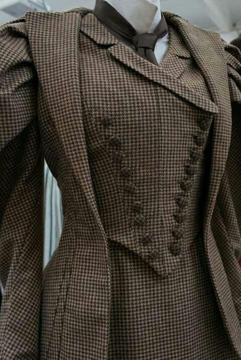 victorian tweed walking dress with vest