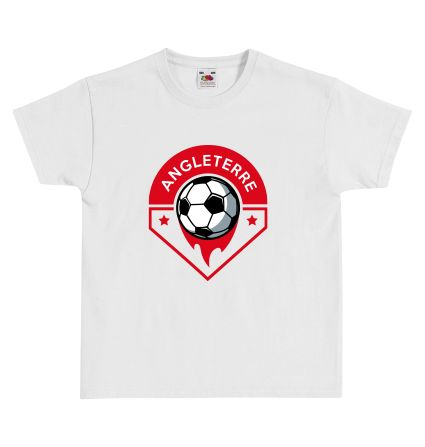 "T-shirt Enfant FRUIT OF THE LOOM Blanc - T-shirt ""Logo Angleterre"" #euro2016 #football #foot #angleterre #tshirtpersonnalisé #comboutique"