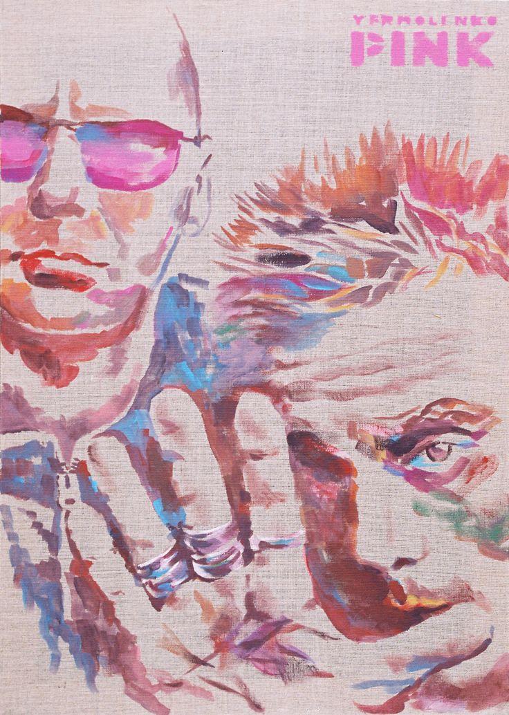 "Yury Ermolenko, ""Rob Birch & Nick Hallam. Stereo MCs"", ( ""PINK"" series ), 2007, acrylic on not primed canvas, 80x55 cm. #YuryErmolenko #еrmolenko #ЮрийЕрмоленко #ермоленко #yuryermolenko #юрийермоленко #hand #юрiйєрмоленко #ЮрiйЄрмоленко #єрмоленко #rapanstudio #acrylicpainting #acrylic #picture #canvas #portrait #art #creative #fineart #visualart #портрет #contemporaryart #modernart #PINK #texture #canvastexture #color #colorful #painting #rock #RobBirch #NickHallam #StereoMCs #живопись"