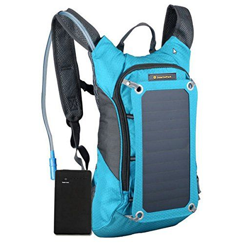 SolarGoPack Solar Powered 1.8 Liter Hydration Backpack / 7 Watt Solar Panel and 10K mAh Charging Battery / Phone and Electronic Device Power Charger Back Pack / Teal Blue